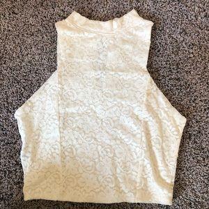 NWOT Hollister cream laced crop top